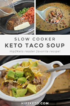 Make the Best Slow Cooker Keto Taco Soup Recipe in Your Crockpot Mexican Food Recipes, Beef Recipes, Soup Recipes, Healthy Recipes, Healthy Meals, New Recipes For Dinner, Instant Pot Dinner Recipes, Keto Taco, Enchilada Recipes