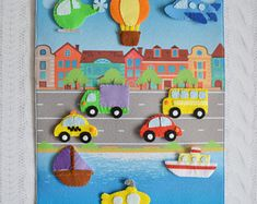 Items similar to Baby sensory board Toddler quiet toy Activity board Car play mat Busy mat Magnet toy Vehicle Air Land Water Types of transport Big size on Etsy Baby Sensory Board, Sensory Boards, Sensory Wall, Diy Quiet Books, Felt Quiet Books, Toddler Toys, Baby Toys, Car Play Mats, Montessori Books
