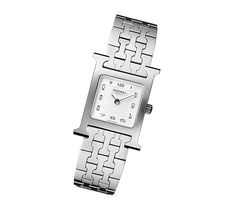Heure H: Watch Swiss made, quartz movement Stainless steel case, white dial, steel bracelet.