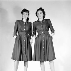Two 1940s women sporting matching shirtwaist dresses that were sewn in compliance with wartime restrictions.