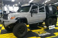 National 4x4 show Patriot Games 6 Wheeler.. what a beast! . . . #National4xshow #4x4 #offroad #patriotcampers #patriotgames #6wheeler #landcruiser #sickrig #carmods #bigwheels