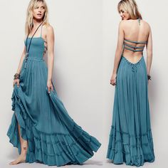 WOMEN SUMMER BOHO LONG MAXI DRESSES CASUAL DOTS BEACH DRESS