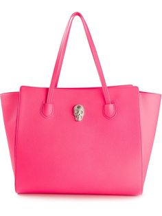 Women Bags - Dark pink leather  'Skully' Tote from Philipp Plein - shop it on shop.genteroma.com or visit #genteroma boutiques