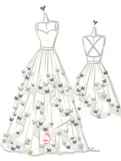 dress design sketches Dress Sketches Gallery - Wedding Dresses, Evening Prom Gowns - Page 4 - Lunss Couture Dress Design Drawing, Dress Design Sketches, Fashion Design Drawings, Drawing Sketches, Dress Designs, Fashion Drawing Dresses, Fashion Illustration Dresses, Drawings Of Dresses, Fashion Dresses