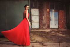 Maigre  - Silk Red Dress/ Backless/ Gown