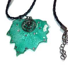 Necklace skeletonized leaf with Swarovski crystals by WishYouLove