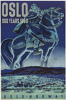Oslo Norway vintage travel poster repro  24x36
