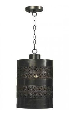 This old-world-style pendant light made with an aged bronze finish will cast lovely shadows in a hallway, foyer or bedroom.
