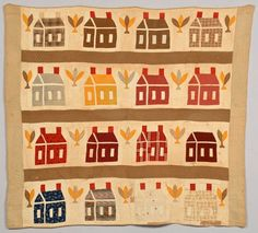 """Schoolhouse pattern quilt, red, blue and gold patterned squares on an ivory background with olive and tan borders,""""Cedarhurst Fine Sheetings UR"""" printed on back. 73"""" x 65"""", Case Antiques, Live Auctioneers"""