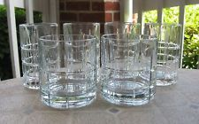(6) Anchor Hocking Tartan Clear Flat Tumblers Glasses EXCELLENT!