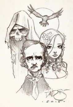 A Window Into My Soul - scarlet-musings: untipoilustrado: Poe trinity. Edgar Allan Poe, Poe Tattoo, Quoth The Raven, Raven Art, Sketch Inspiration, Character Illustration, Art Drawings, Fairy Tales, Sketches