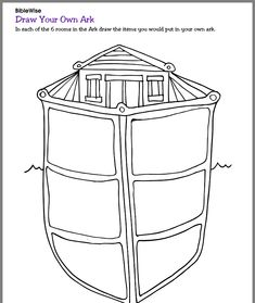Complete this picture of the ark by drawing what you would bring in each of the six rooms. Sunday School Teacher, School Fun, School Ideas, Bible Activities For Kids, Kids Bible, Noahs Ark Craft, Noah's Ark Bible, Homework Club, Sunday School Decorations