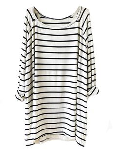 Sheinside Women's White Black Striped Loose T-Shirt (One Size, White) at Amazon Women's Clothing store: