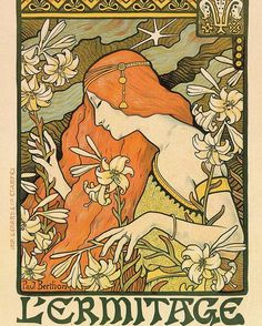 L'ermitage - Alphonse Mucha - Art Nouveau Poster Poster by Studio Grafiikka. All posters are professionally printed, packaged, and shipped within 3 - 4 business days. Choose from multiple sizes and hundreds of frame and mat options. Mucha Art Nouveau, Alphonse Mucha Art, Art Nouveau Poster, Art Inspo, Kunst Inspo, Inspiration Art, Design Art Nouveau, Art Design, Easy Sketches