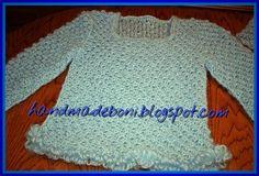 HandmadeBoni: Ażurowy moherowy sweterek i szalik - ścieg różycze...