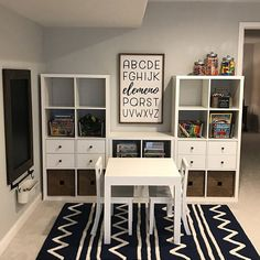 Kids room - How gorgeous is this playroom ! It's inspiring me to redo my kids play area too! And checkout our elemeno sign 😍 It was a custom size… Playroom Design, Playroom Decor, Modern Playroom, Boys Playroom Ideas, Bonus Room Playroom, Small Playroom, Modern Bedroom, Bedroom Decor, Ikea Kids Playroom