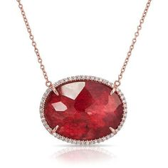 Anne Sisteron  14KT Rose Gold Bright Ruby Diamond Oval Necklace ($1,310) ❤ liked on Polyvore featuring jewelry, necklaces, rose, pink gold necklace, rose gold diamond jewelry, oval necklace, ruby jewelry and rose jewellery