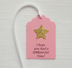 Bubble Gum Pink w/ Gold Star Party Favor Tags: I hope you had a ONEderful Time! Set of 12 Twinkle Little Star First Birthday Party Tag Birthday Party Goodie Bags, Party Favor Tags, Party Bags, Baby Party Favors, Wedding Favors, Baby Girl 1st Birthday, First Birthday Parties, First Birthday Favors, Birthday Ideas