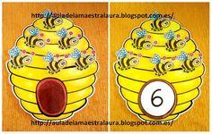 La primavera sigue ofreciendo nuevas ideas para más material ABN: Abejas en la colmena.        Con ayuda de las abejas podemos trabajar la a... Counting Activities, Animal Activities, Activities For Kids, Kindergarten Games, Math Games, Math For Kids, Fun Math, Maths, Preschool Assessment
