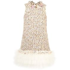 MISCHKA AOKI A/W 2015/2016 Wool and polyamide tweed Synthetic tulle Silk lining Crew neck Sleeveless Straight fit Layered flounces Zipper in the back Fancy flowers Fancy rhinestones - 523,80 €