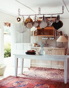 rustic kitchen with oriental rug!