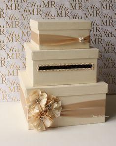 Wedding Card Box, Money Box, Gift Card Holder - choose your box & flower colors. $125.00, via Etsy.