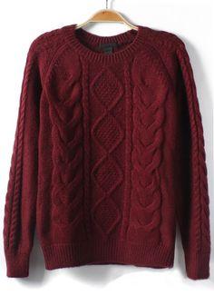 Wine Red Geometric Round Neck Knit Sweater