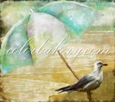 In the Shade, by Mindy Sommers and colorbakery.com Avail on all our home decor and art gift products as well as for art licensing. #beachart #coastalart #artlicensing #seagull
