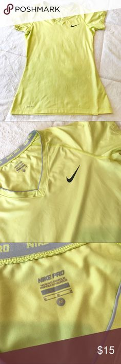 💕Nike Pro Dri Fit Workout Shirt💕 Nike Pro Dri Fit Workout T-Shirt. V-Neck in a Neon Yellow tone. EUC Nike Tops Tees - Short Sleeve