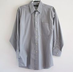 Pierre-Cardin-Mens-Button-Down-Dress-Shirt-16-32-33-Grey-Cotton-Poly-Blend
