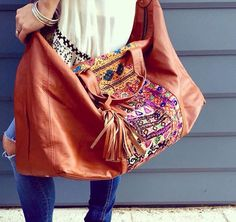 Embellished boho leather bag. Gorgeous.