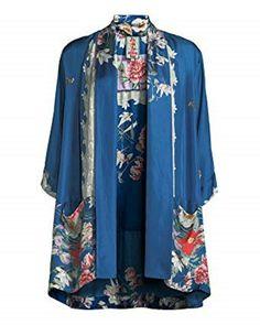 Johnny Was Zuki Silk Kimono Cardigan Jacket Top Floral Boho Blue Medium