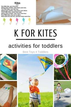 Letter K - kite themed activities for tot school. From simple kite crafts to easy STEM activities for toddlers Toddler Activities, Learning Activities, Preschool Activities, Letter K Kite, Kites Craft, Kites For Kids, Tot Trays, Best Toddler Toys, Kids Toilet