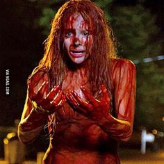 When I dye my hair red and wash it out in the shower...