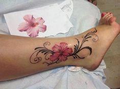 Tattoo Trends & leg flower tattoo design for men and women& - Tattoo Trends – leg flower tattoo design for men and women…Tattoo Trends – leg flower tattoo design for men and women…leg flower tattoo d Hawaiian Flower Tattoos, Hibiscus Flower Tattoos, Flower Tattoo On Ankle, Ankle Tattoo Cover Up, Anklet Tattoos, Leg Tattoos, Body Art Tattoos, Vine Foot Tattoos, Tatoos