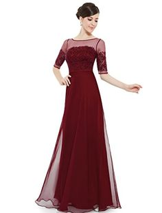 Ever Pretty Lace Illusion Half Sleeve Elegant Evening Dress/Prom Gown 08459 * For more information, visit image link.