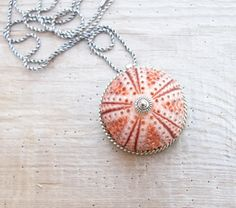 Pink Sea Urchin Necklace Sterling Silver Necklace Beach Jewelry, Natural Sea Treasure by StaroftheEast on Etsy https://www.etsy.com/listing/154417048/pink-sea-urchin-necklace-sterling-silver