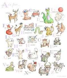 GIRLS Alphabet Chart. PRINT 8X10. Nursery Art Home by LoxlyHollow