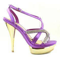 Purple Rhinestone High Heels | Mascotte Koosby 11 - Purple Strappy Rhinestone…