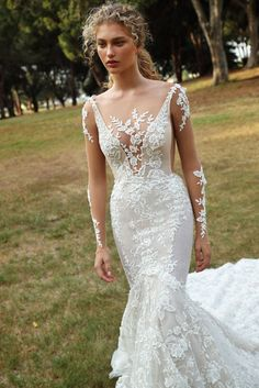 ab2b37f3300 A closer look at the elegant slim fitted  GALA206 mermaid wedding dress.  Made of