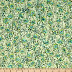 Pretty As A Peacock Feathers Light Green from @fabricdotcom  Designed by Kate Follows for Quilting Treasures, this cotton print collection features beautiful peacock colors and small metallic accents. Perfect for quilting, apparel, and home decor accents. Colors include shades of green with blue, black, and metallic gold accents.