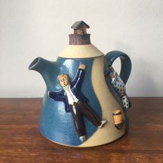 J & G Morten collectable 'Jack and Jill' studio art pottery Teapot c.1978-82