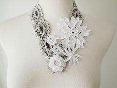 Irish Crochet Lace Jewelry (Spirit of Flower) Necklace. $105.00, via Etsy.