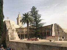 the beautiful Paster Noster Monastery and Church on Mount Olives in Jerusalem Jerusalem Travel, Jewish Temple, Benedictine Monks, Mount Of Olives, World Religions, John The Baptist, Holy Land, Day Tours, Great View