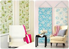 Adding interest to nooks and crannies with temporary wallpapers and fabric.  #springintothedream #wall_art