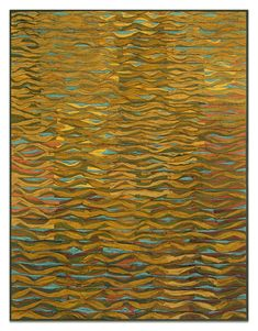 Shimmer no. 10 by Tim Harding. Richly textured fiber wall piece made in a collage-layered, reverse applique technique of iridescent, lustrous, hand-loomed Indian silks on a two-ply cotton duck backing. Signed on reverse at bottom. Installation materials included.