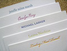 letterpressed notecards