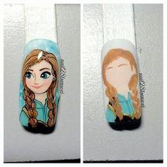Nailpolis Museum of Nail Art Frozen Nail Art, Frozen Nails, Cute Nail Art, Beautiful Nail Art, Cute Nails, Frozen Nail Designs, Cool Nail Designs, Disney Inspired Nails, Disney Nails