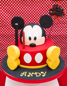 Cool cake at a Mickey Mouse birthday party! See more party planning ideas at CatchMyParty.com!