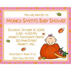 20 Personalized Baby Shower Invitations  NEW Design! OUR LITTLE PUMPKIN!  Ask about any of our other baby shower items, they can be done to match this theme! : )  I can also do